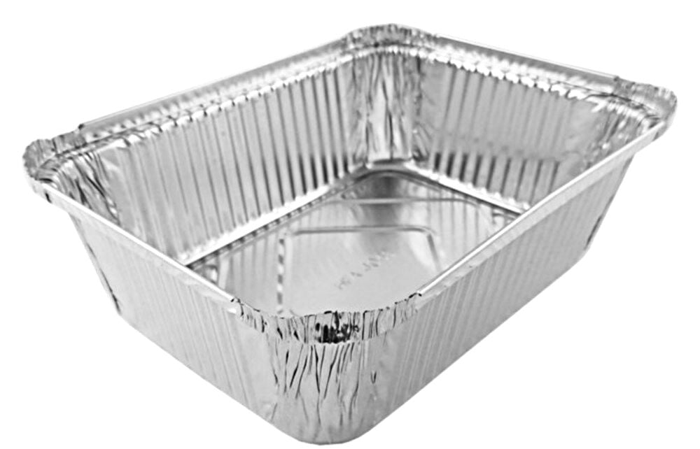 5 lb. Oblong Entrée Foil Take-Out Pan w/Board Lid