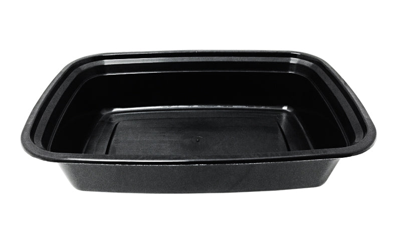 38 oz. Rectangular Black Container w/Lid Combo 50/PK