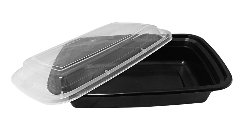24 oz. Rectangular Black Container w/Lid Combo 150/CS