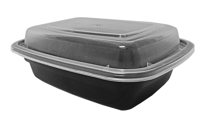 12 oz. Rectangular Black Container w/Lid Combo 50/PK