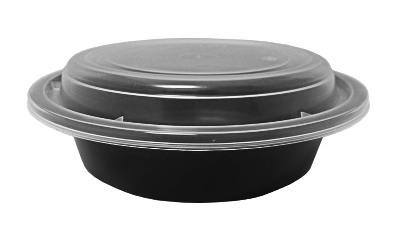 "16 oz. Round Black  6"" Container w/Lid Combo 50/PK"