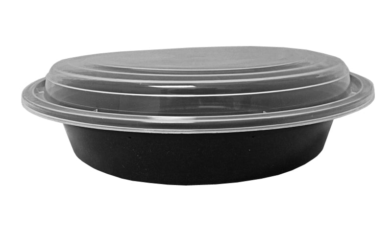"48 oz. Round Black 9"" Container w/Lid Combo 150/CS"