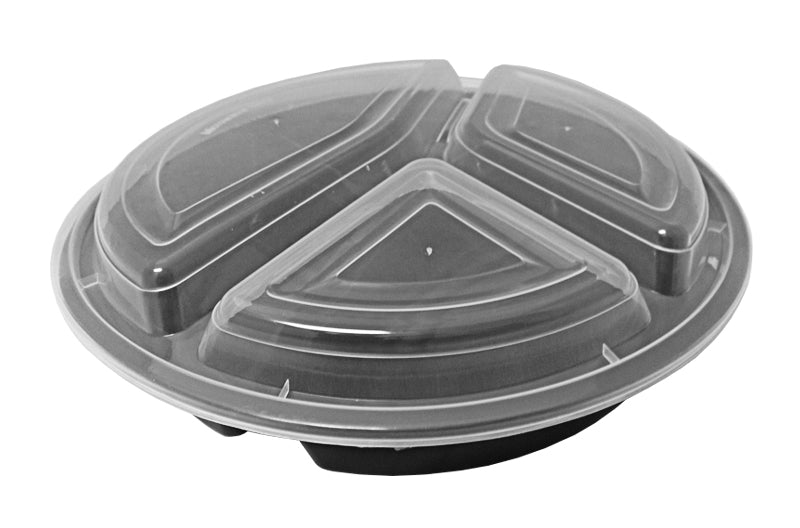 "39 oz. Round Black 9"" Container 3 Compartment w/Lid Combo 150/CS"