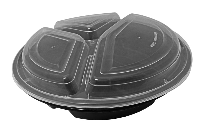 "39 oz. Round Black 9"" Container 3 Compartment w/Lid Combo 50/PK"
