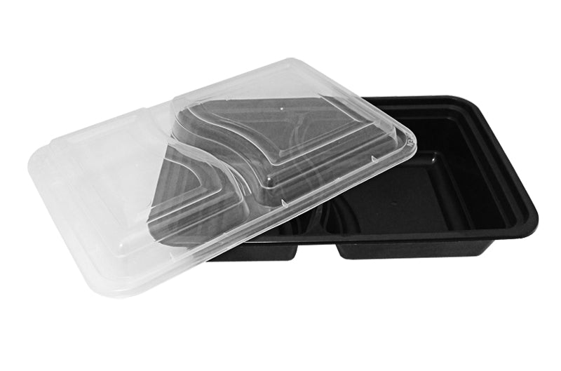 32 oz. Rectangular 2-Compartment Black Container w/Lid Combo 50/PK