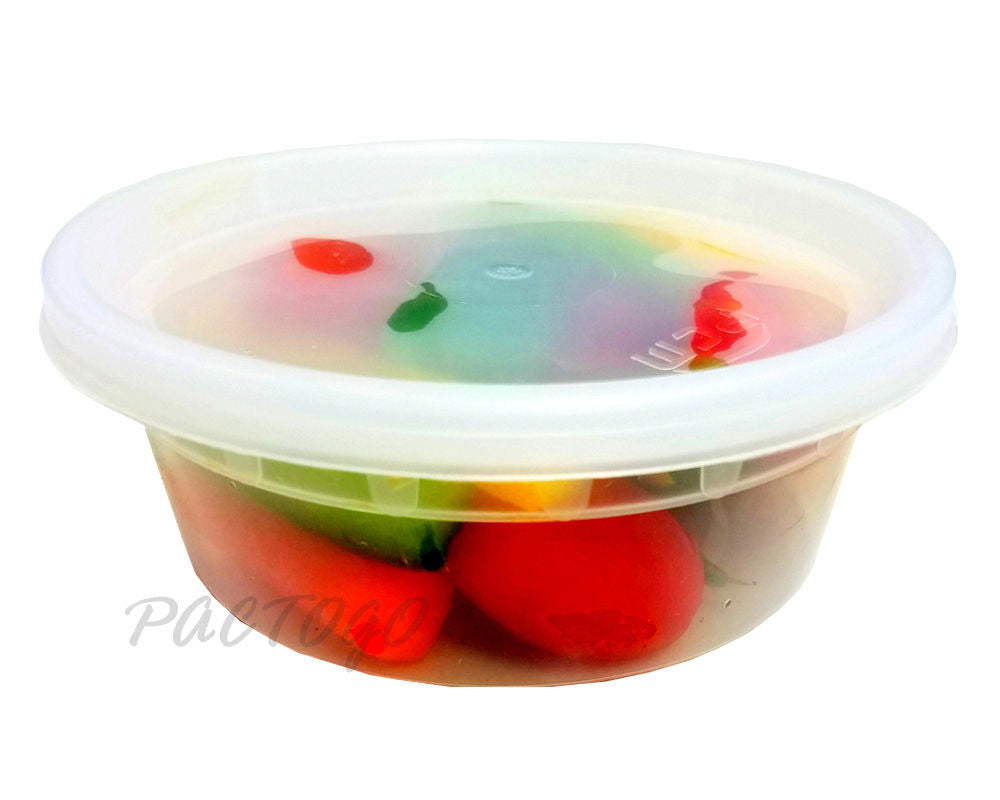 8 oz. Round Microwaveable Soup Container w/Lid Combo