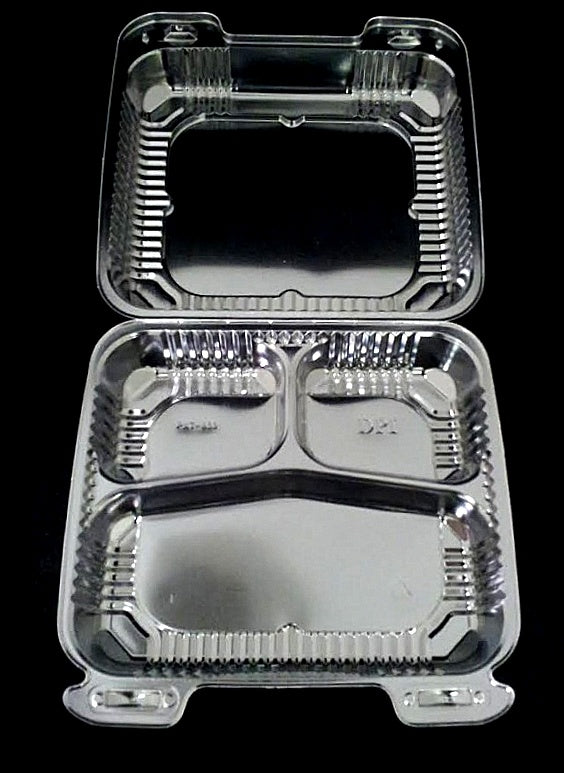 "8"" Medium Clear Hinged 3-Compartment Container"