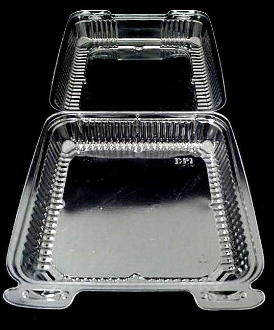 "8"" Medium Clear Hinged Container Single Compartment"