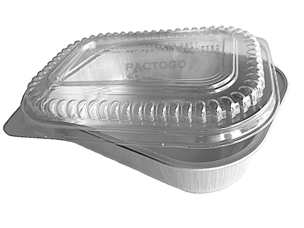 Small Silver Oblong Foil Pan w/Clear Dome Lid
