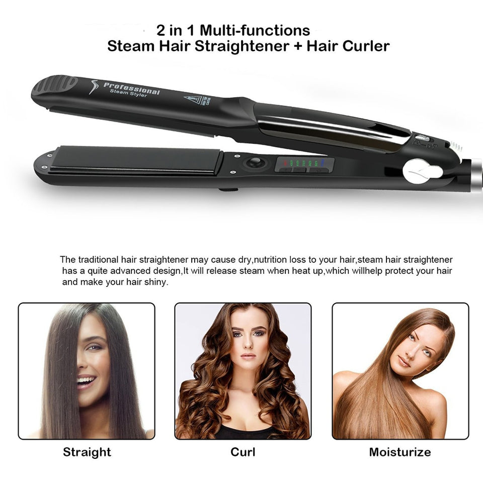 Professional Steam Hair Straightener Ceramic Vapor Hair Flat Iron