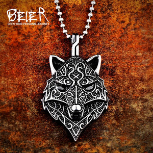 Viking Amulet scandinavian  wolf head unisex Necklace