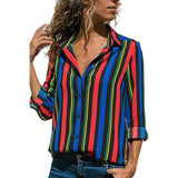 Women Casual Cuffed Long Sleeve V-Neck Button Up Striped Shirt Blouse Tops