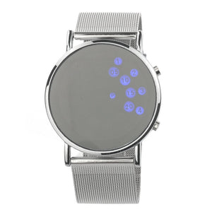 Round Mirror Face Blue LED Digital Wrist Watch