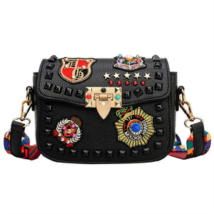 Women Square Crossbody Bag Rivet Badge Embroidery One Shoulder PU Leather Bag (Black)