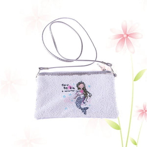 Women Handbag Summer Sequin Simple Mermaid Pattern Printing Single-sided Pick Colorful Satchel Shoulder Crossbody Bag with Strap (White)