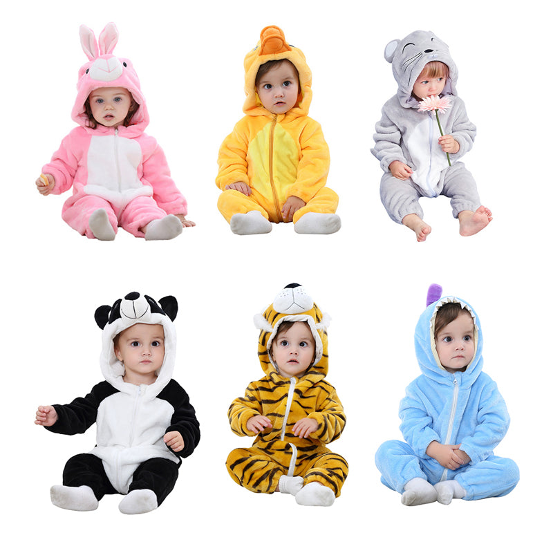 Winter Baby Romper Flannel Front Zipper Loose Warm Cartoon Animal Soft Hooded Romper Baby Christmas Clothes Cosplay Costume