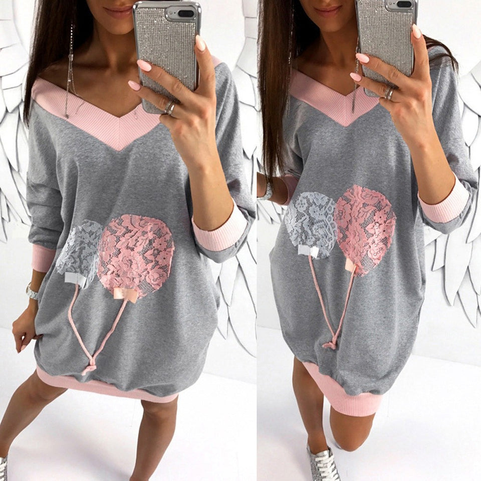 Women Fashion V-Neck Sweatshirt Loose Blouse Tops Clothes T Shirt