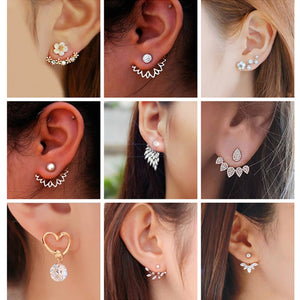 Korean Jewelry Zircon Pearl Stud Earrings