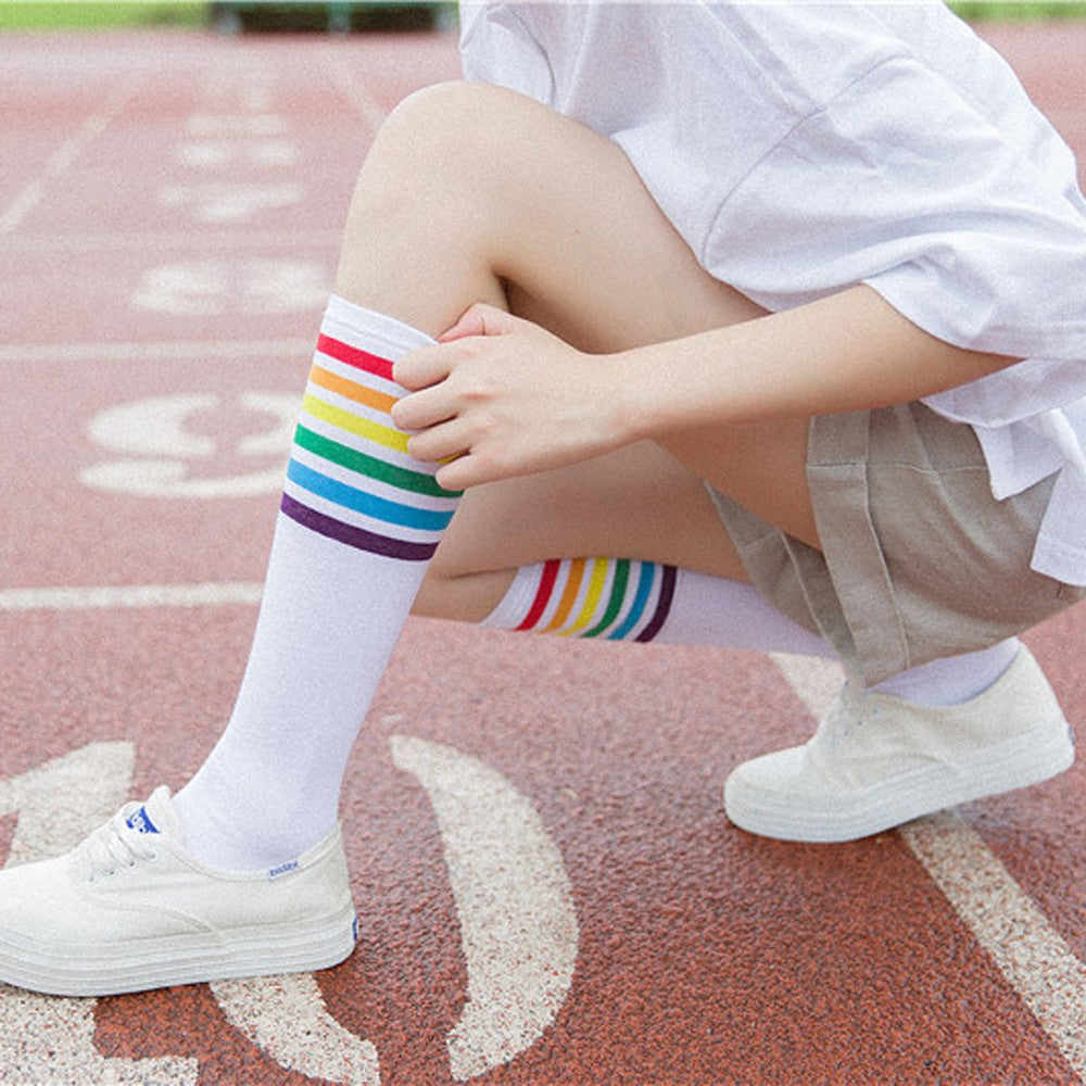 Rainbow Stripe High Football Socks for Girls