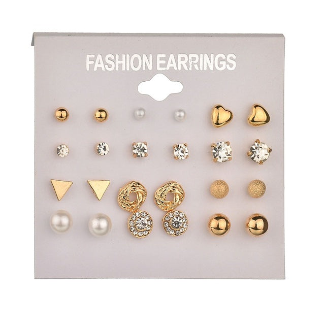 12 pairs Women Round Crystal Heart Stud Earrings for Women