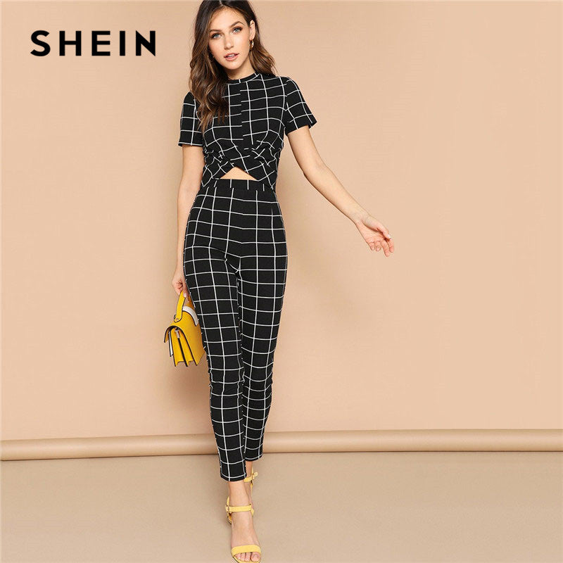 SHEIN Black Cross Wrap Front Grid Crop Top And Pants Matching Set