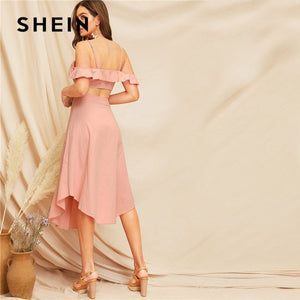 SHEIN Pink Glamorous Ruffle Trim Cami Crop Top And Buttoned Curved Hem Skirt Set