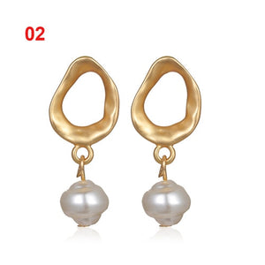 Metal Gold Pearl Stud Earrings for Women