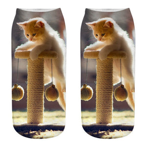 Women 3D Novelty Crazy Funny Cat Ankle Socks Cute Colorful Cartoon Low Cut Socks