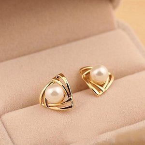 Triangle pearl stud earrings for women