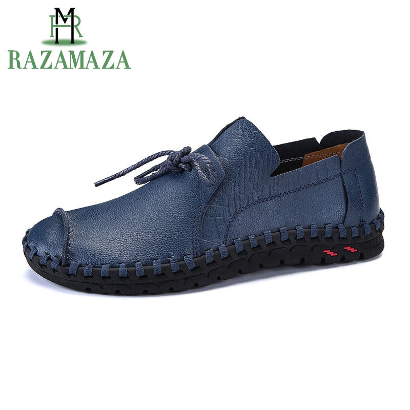 RAZAMAZA Size 38-50 Spring Genuine Leather Business Men Shoes Elegant Hand Sewing Comfortable Office Men Flat Mens Casual Shoe