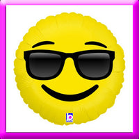 "18"" Emoji Sunglasses Foil Balloon"