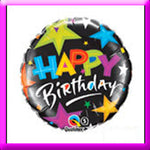 18in Birthday Brilliant Stars Black Balloon
