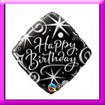 "18"" Birthday Black Elegant Balloon"