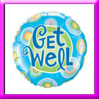 "18"" Get Well Blue Dots Foil Balloon"