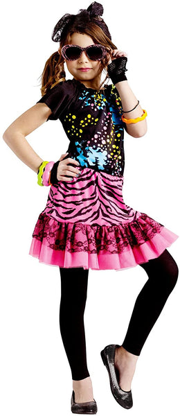 Girl's 80's Pop Party Halloween Costume Kids Large