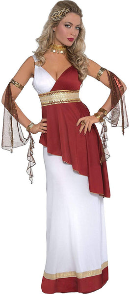 amscan Adult Imperial Empress ADult HAlloween Costume - Small (2-4), Red