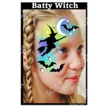 Batty Witch Halloween- Profile Stencil