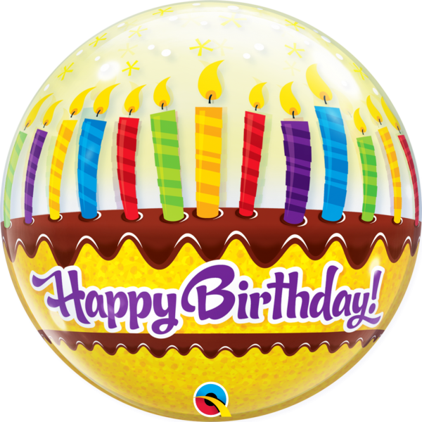 "22""  Happy BIRTHDAY CANDLES & FROST BUBBLES Balloon"