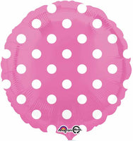 Pink Foil Balloon with white polka dots 18""