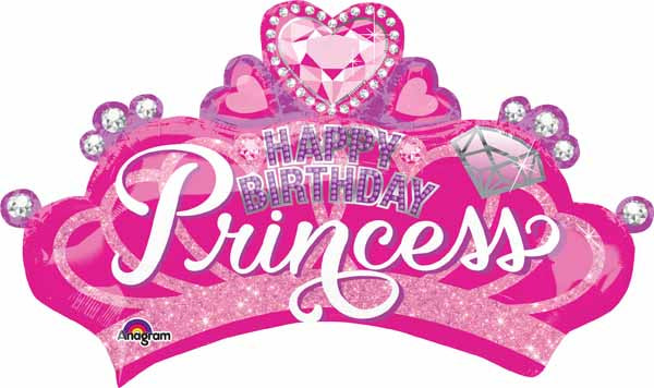 Happy Birthday Princess Crown SuperShape Balloon