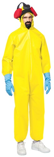 Yellow Hazmat Suit Adult Standard Sized Halloween Costume with Gas Mask