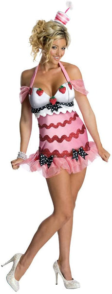Ladies Sexy Happy Birthday Cake Adult Halloween Costume Size 10-12
