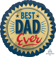 "BEST DAD EVER STAMP 18"" Foil Balloon"