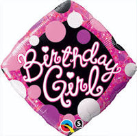 "18"" Birthday  GIRL PINK & BLACK Balloon"