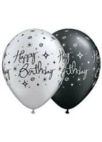 "Elegant Birthday - Black / Silver 11"" Latex Balloon"