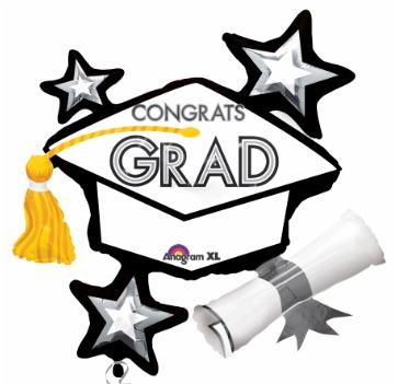"CONGRATS GRAD WHITE 31"" SHAPE Foil Balloon"