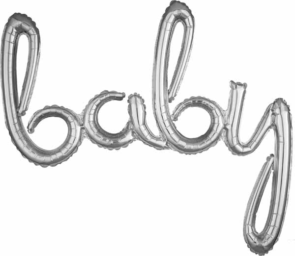 Air Filled SCRIPT PHRASE  Baby BAlloon  silver or gold