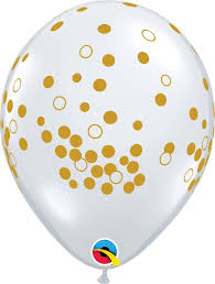 "Clear with gold confetti 11"" Latex Balloon"