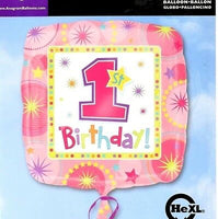 Happy first birthday foil Balloon pink