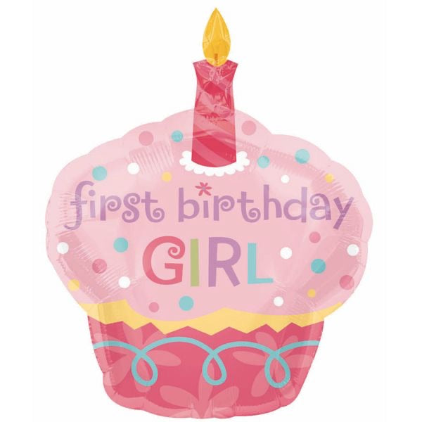 First birthday girl cupcake balloon large